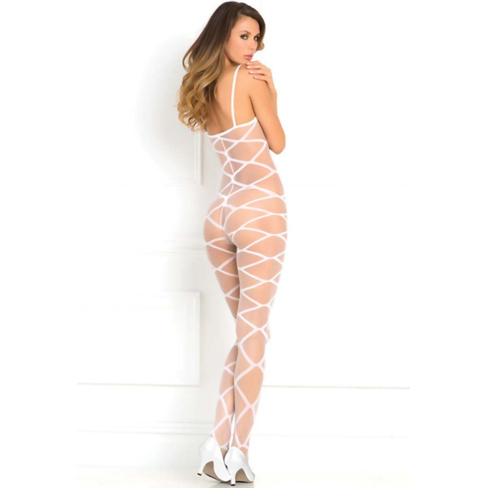 Rene Rofe Strapped Up Sheer Bodystocking One Size White - View #2