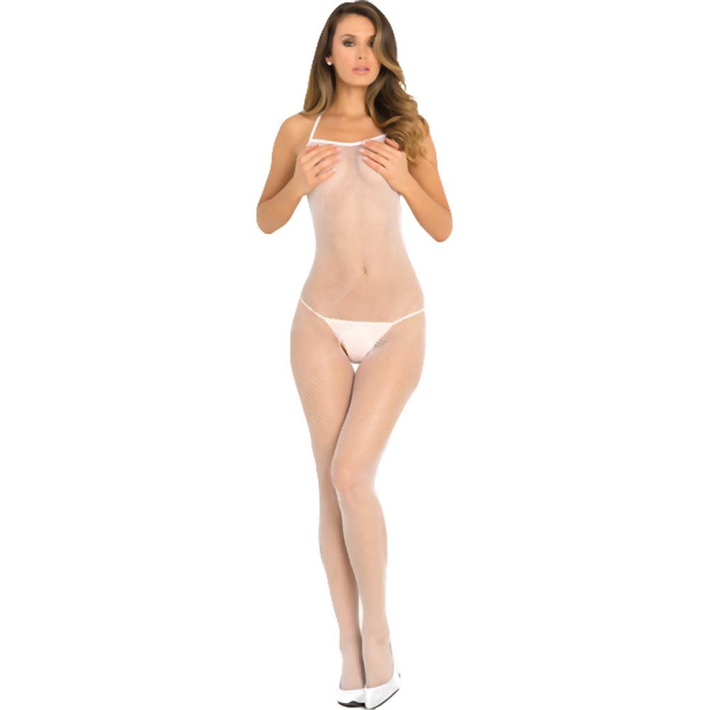 Rene Rofe Halter Fishnet Bodystocking One Size White - View #1