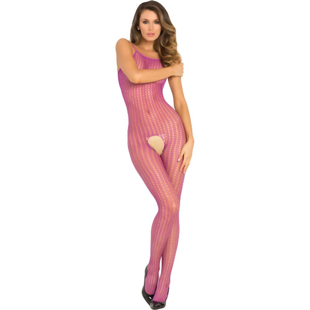 Rene Rofe Quarter Crochet Net Bodystocking One Size Purple - View #1