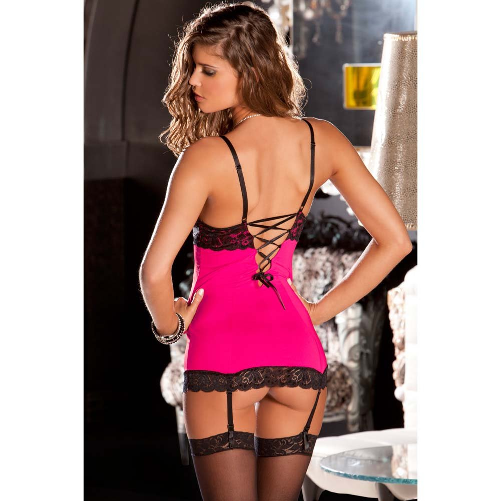Rene Rofe Hollywood Chemise and G-String Set Medium/Large Hot Pink/Black - View #4