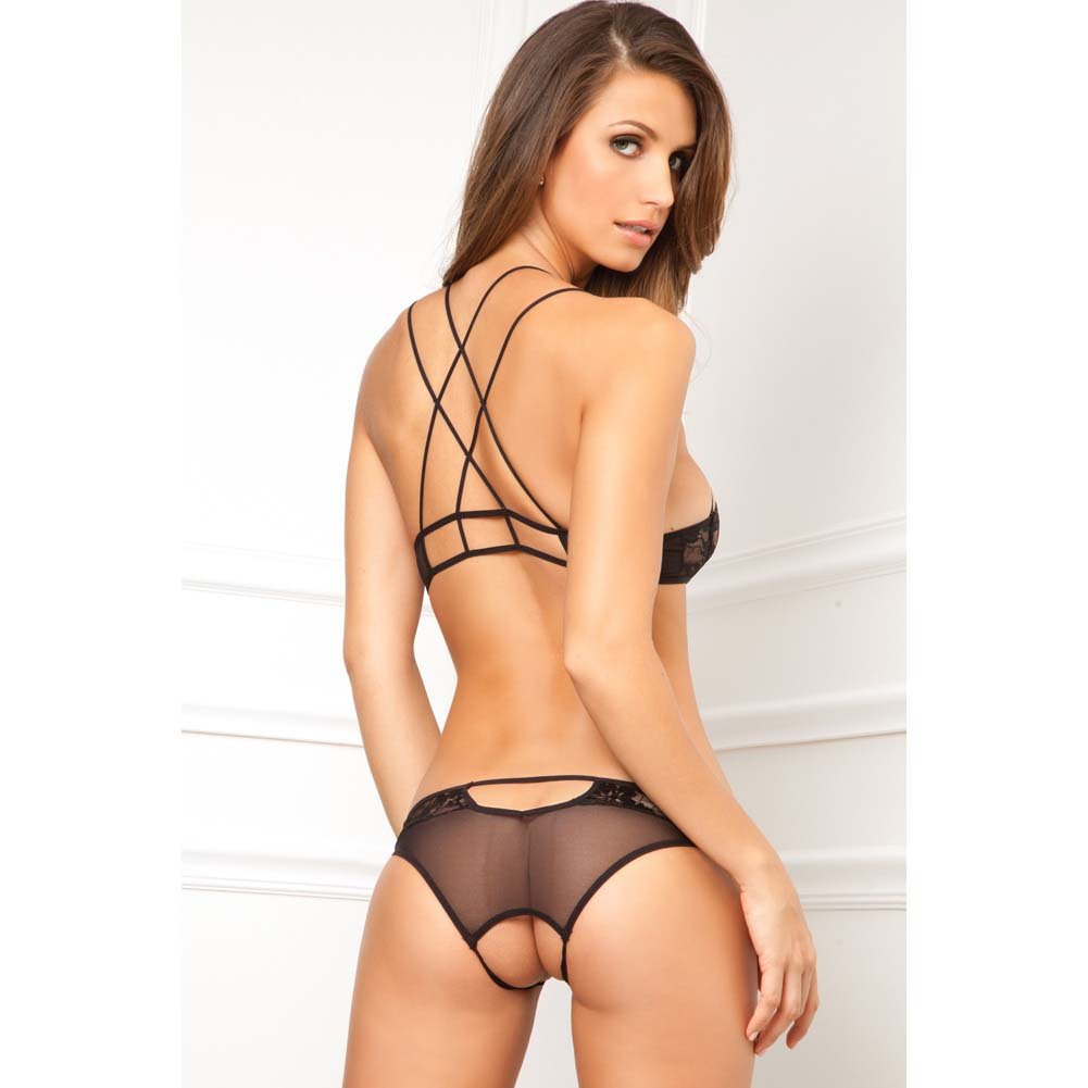 Rene Rofe Lace Bra and Crotchless Panty Set Medium/Large Black - View #2