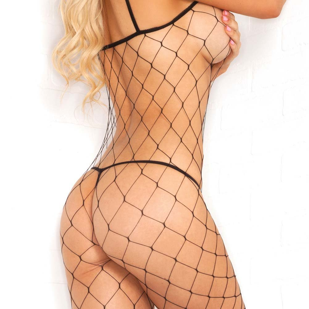 Pink Lipstick Fierce Fence Net Bodystocking One Size Black - View #4