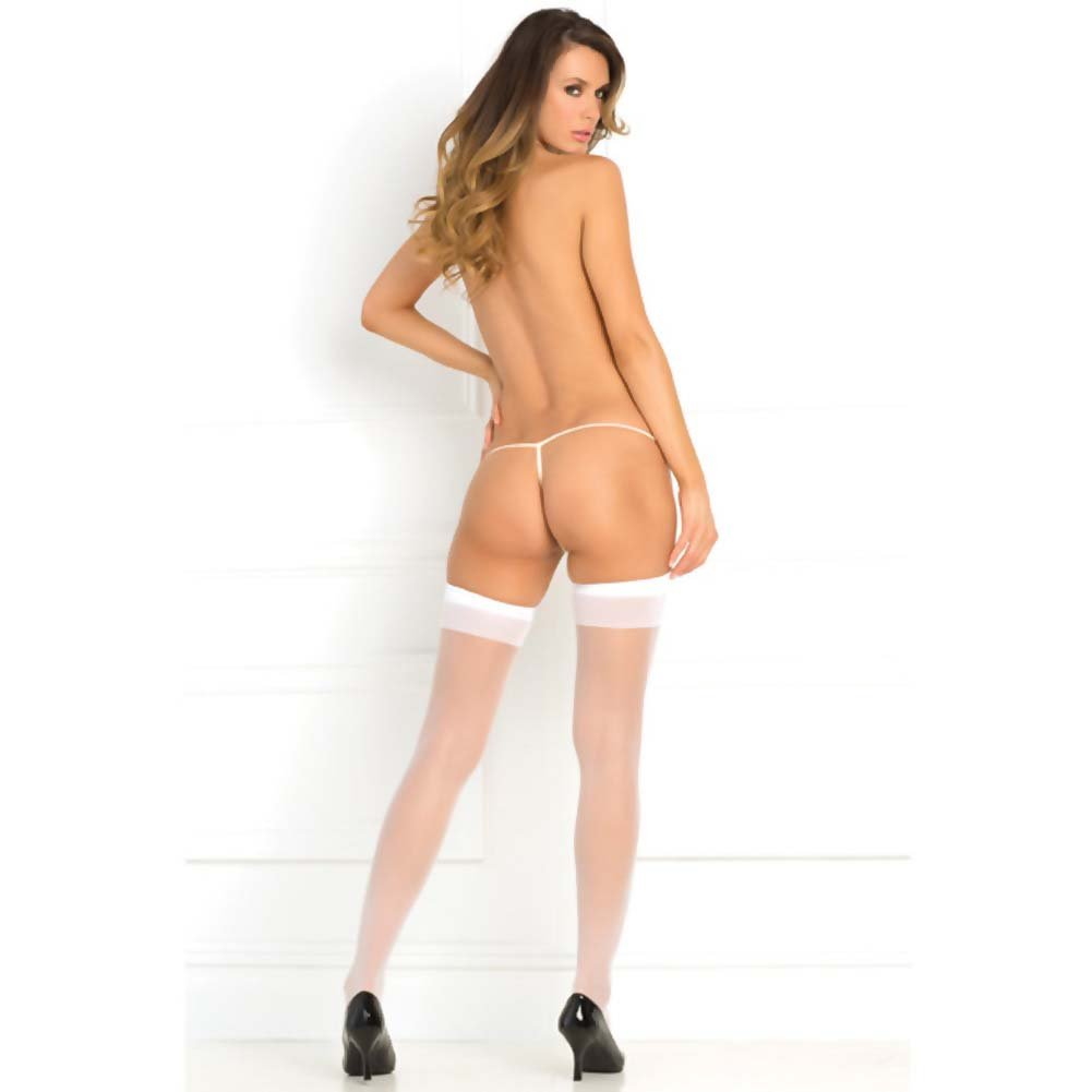 Rene Rofe Sheer Thigh High White One Size - View #2