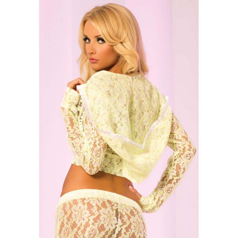 Pink Lipstick Loungewear Luxurious Lace Cropped Hoodie Large Green - View #2