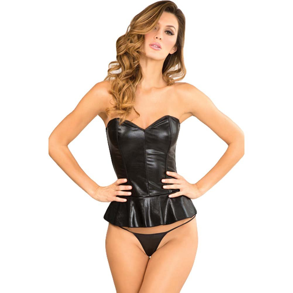 Rene Rofe Signature Peplum Edgy Leatherette Bustier and G-String Set Large Black - View #1