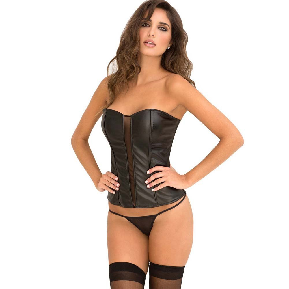 Rene Rofe Signature Leatherette Corset with Front Mesh Boning Zip Back and G-String Medium Black - View #1