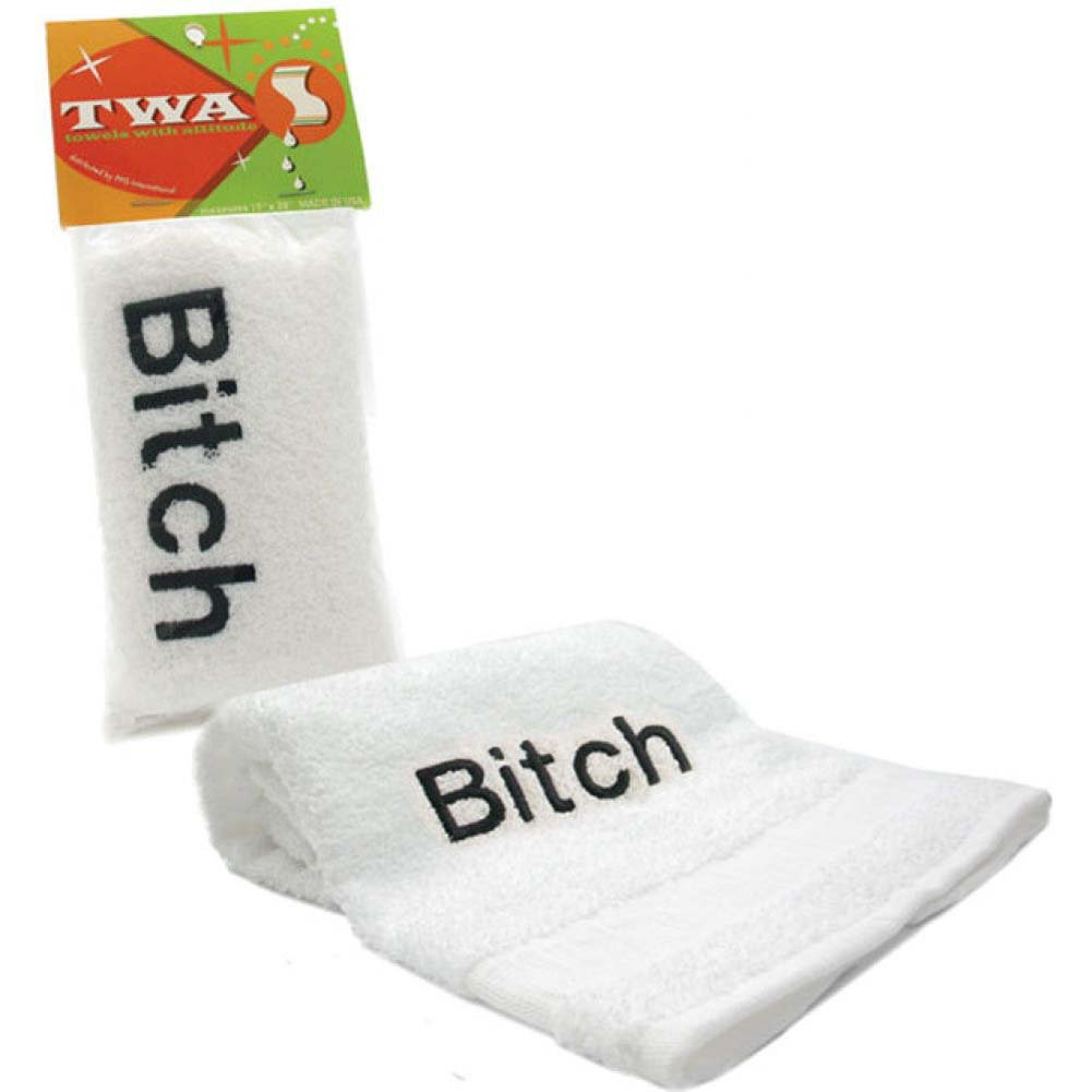 BITCH Embroidered Towel White - View #1
