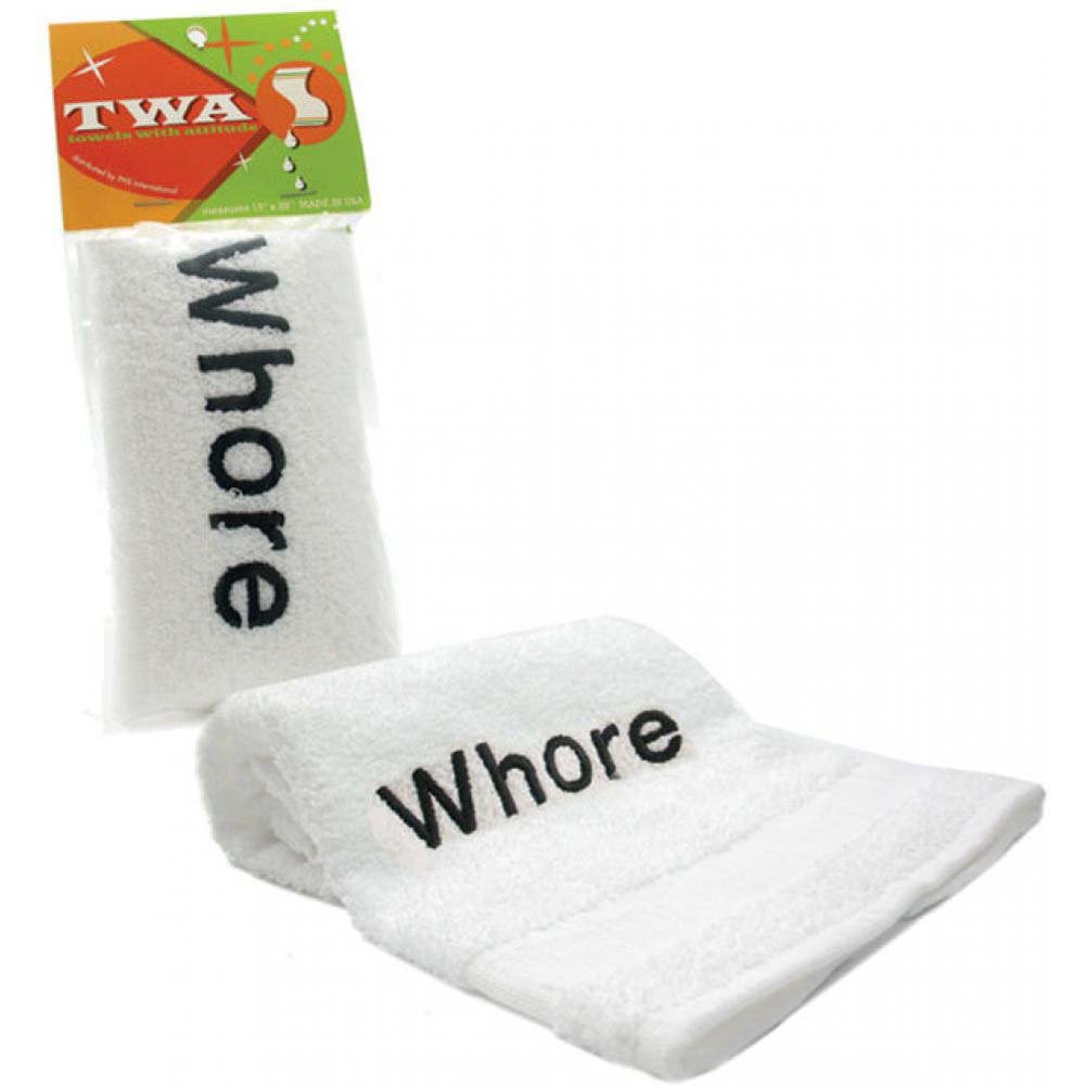 WHORE Embroidered Towel White - View #1