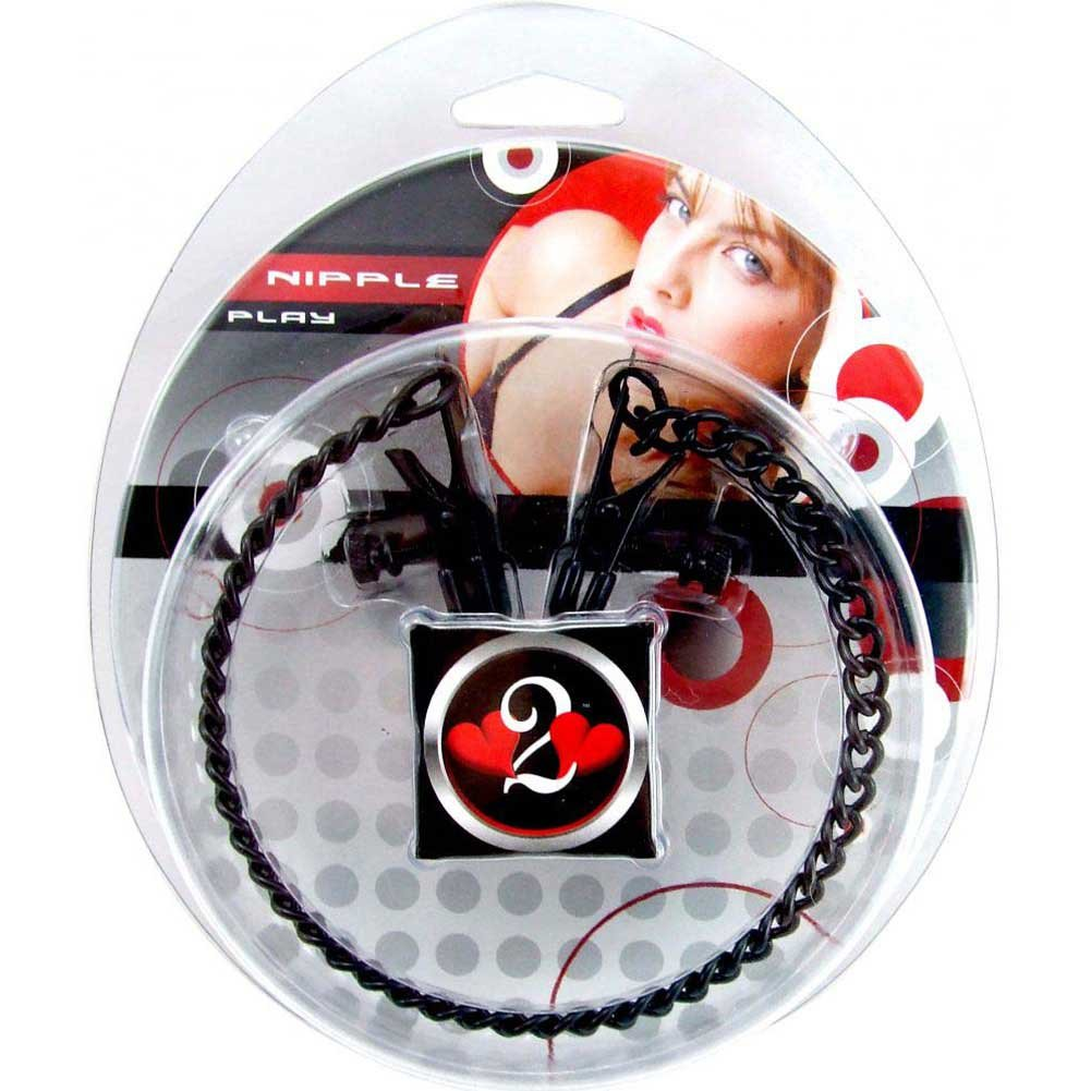 Heart 2 Heart Alligator Nipple Clamps with Chain Black - View #1