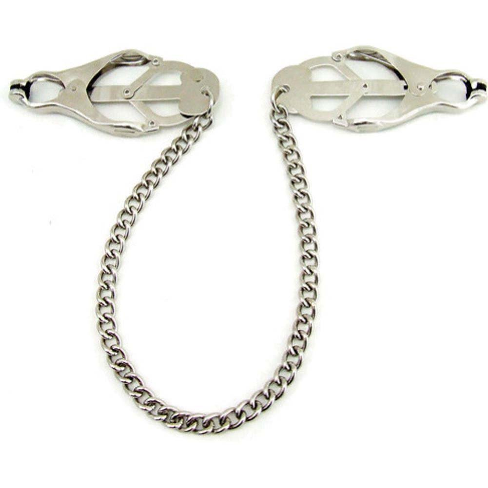 Heart 2 Heart Jaws Tweezer Clamps with Chain Chrome - View #3