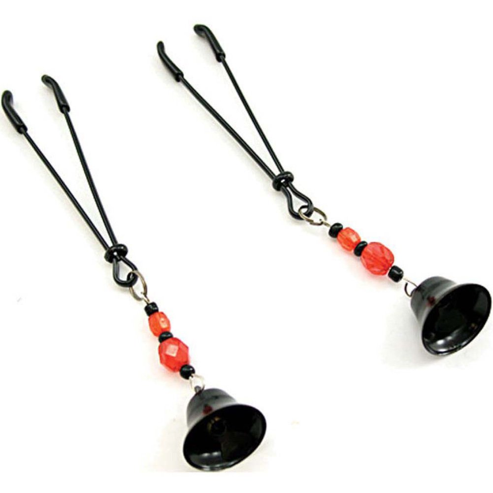 Heart 2 Heart Nipple Play Clamps with Beads and Bell Black - View #2