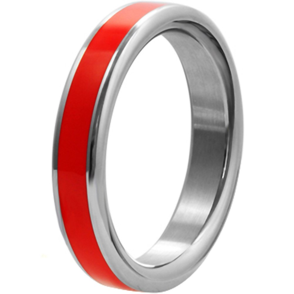 "H2H C-Ring Stainless Steel Cock Ring 1.85"" Chrome with Red - View #1"
