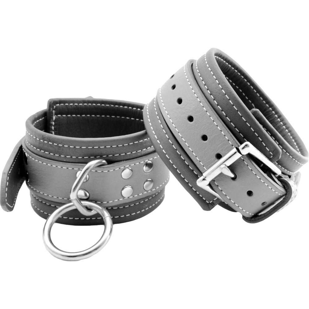 Grey Leather Wrist Restraints - View #1