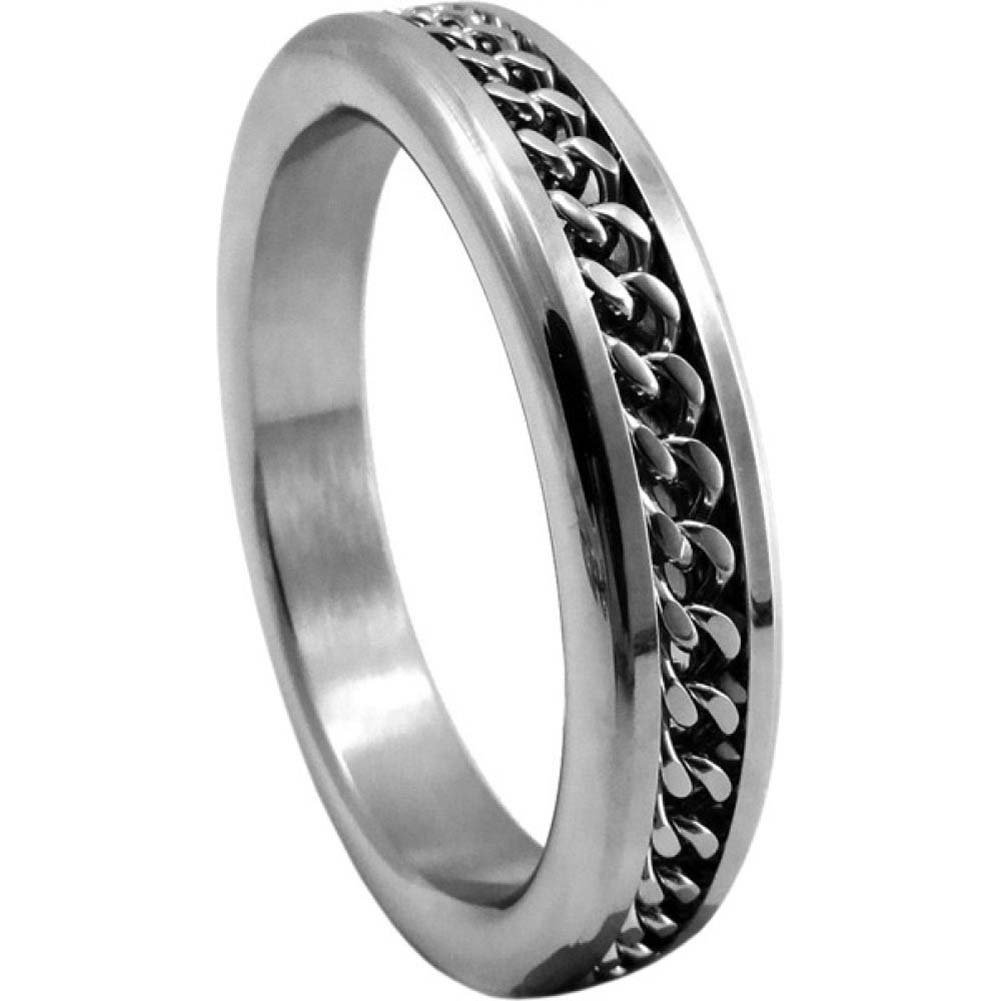 "Metal C-Ring 2"" Chrome with Chain Design - View #2"
