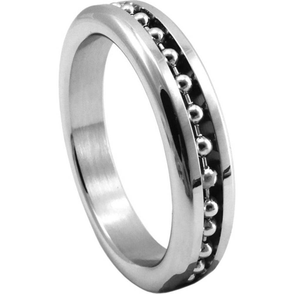 "Premium Stainless Steel Cockring with Ball Chain Inlay 1.875"" - View #2"
