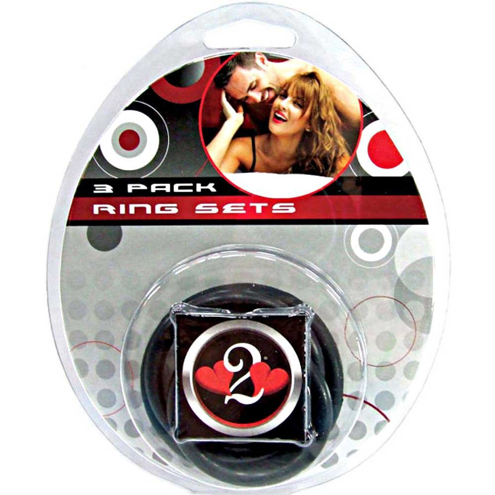 Heart 2 Heart Nitrile Cock Ring 3 Piece Pack Black - View #1