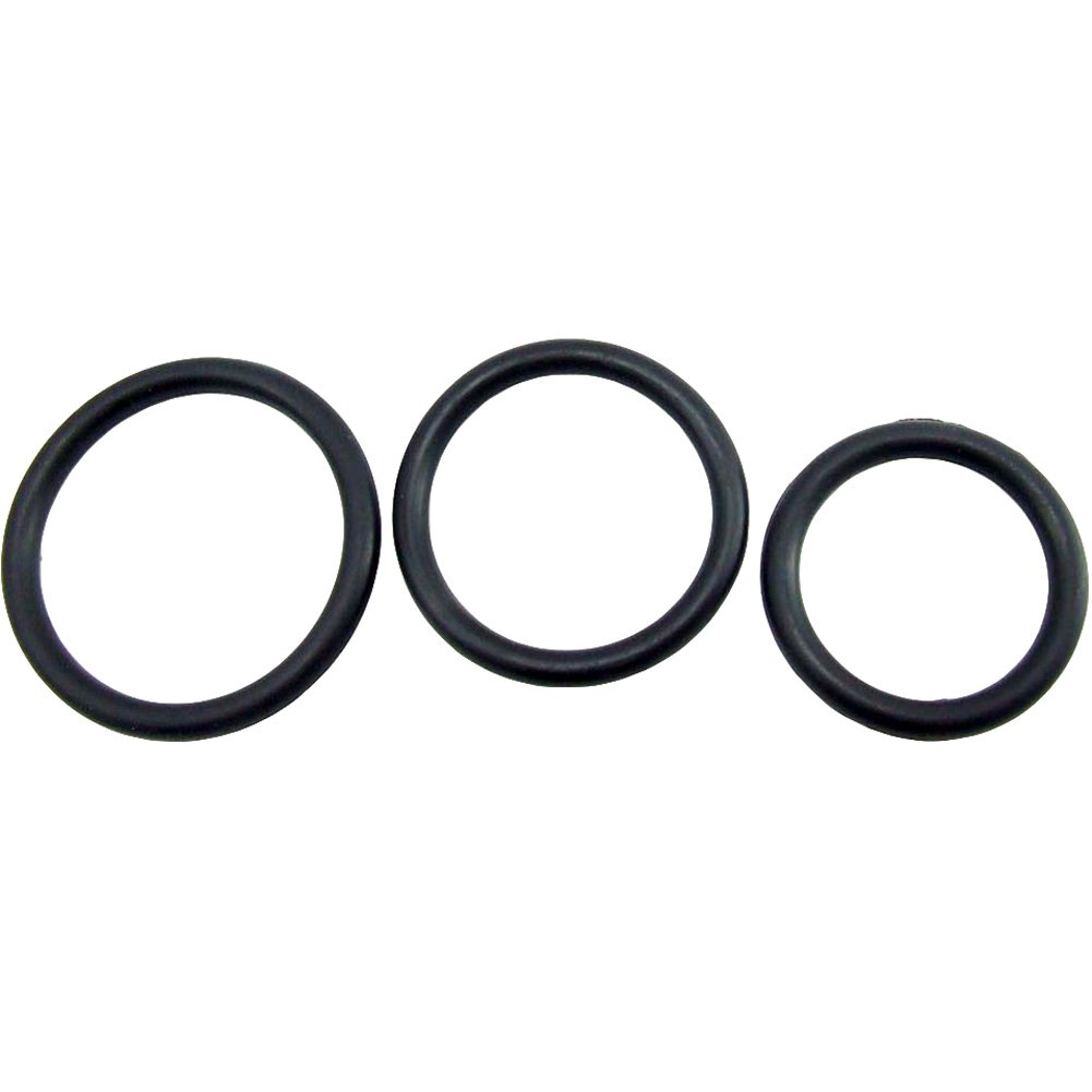 Heart 2 Heart Nitrile Cock Ring 3 Piece Pack Black - View #3