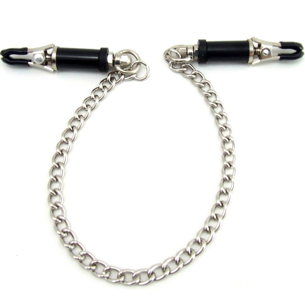 Heart 2 Heart Nipple Clamps Barrel with Chain Chrome - View #2