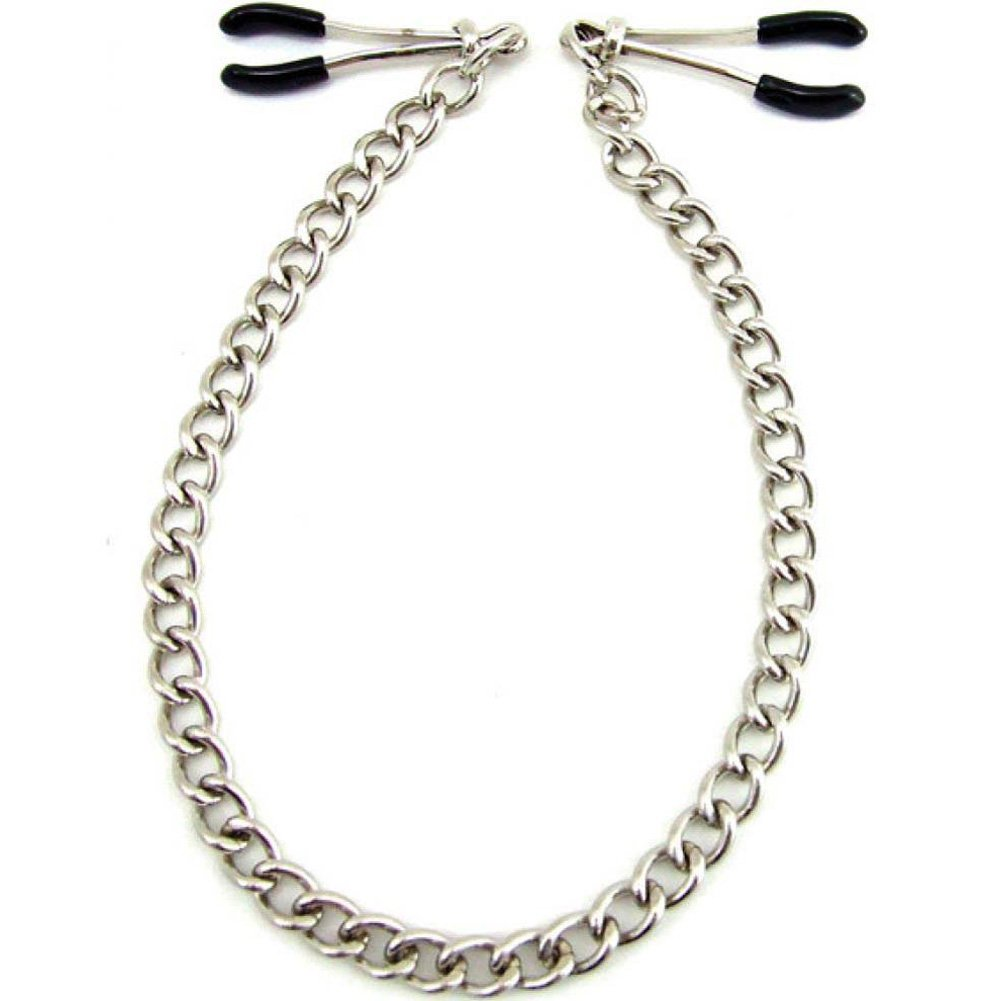 H2H Heart 2 Heart Wide Tweezer Nipple Clamps with Chain Chrome - View #2