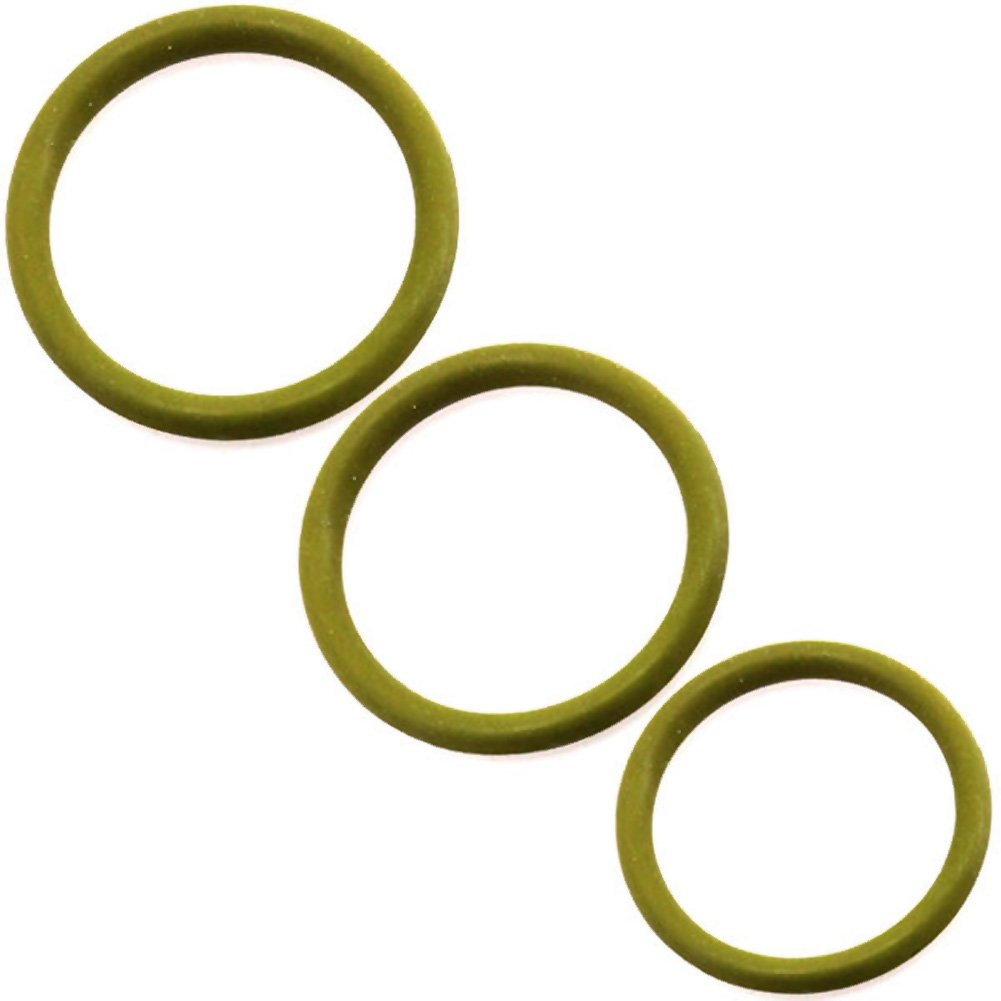 M2m Nitrile Cock Ring 3 Piece Pack Military Green - View #3