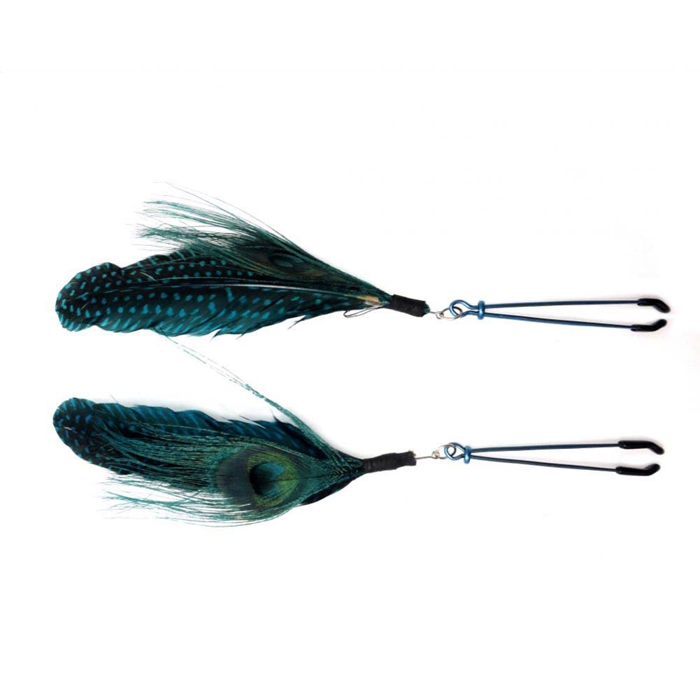 Bijoux de Nip Colored Feather with Blue Tweezer Clamp - View #2