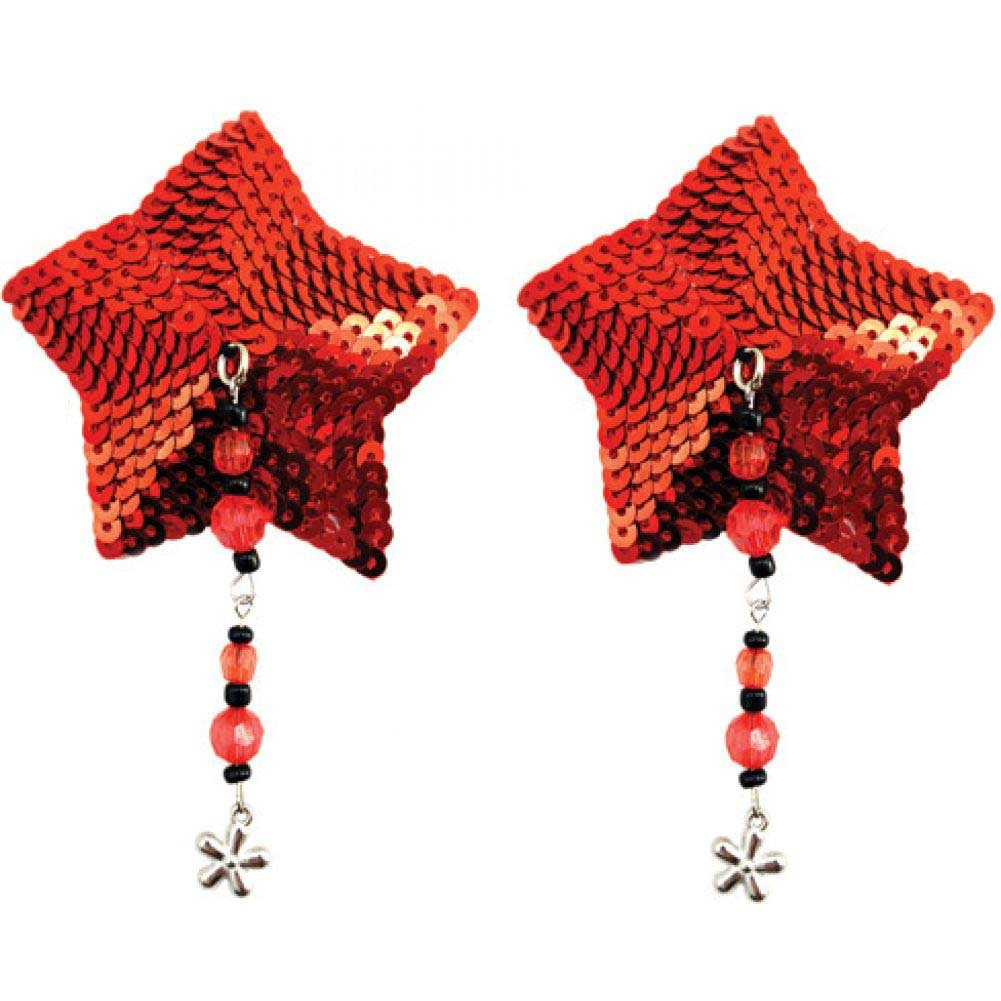 Sequin Nipple Covers Star with Beads and Flower Charm Red - View #1