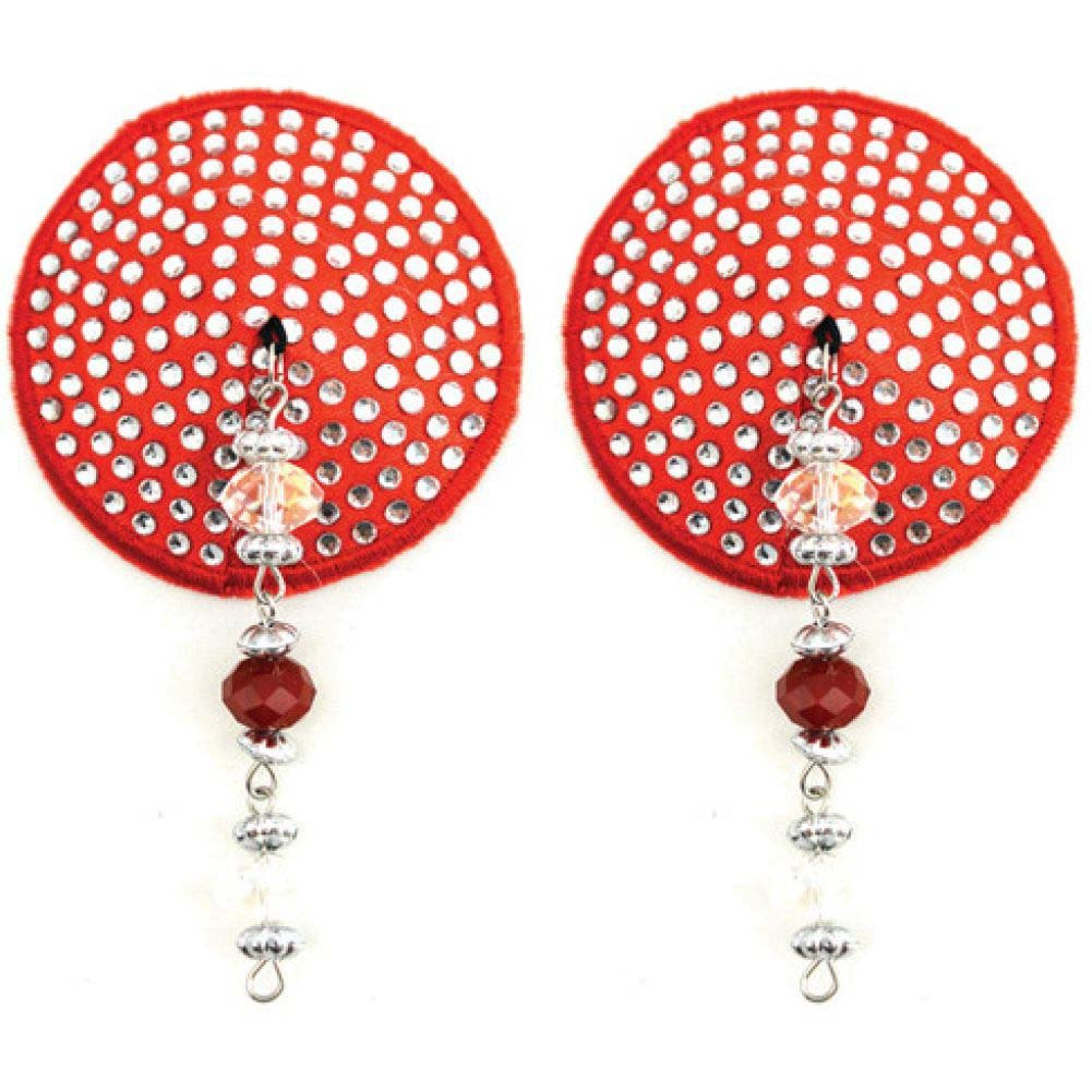 Bijoux de Nip Small Crystals Round Shaped Nipple Covers with Faceted Beads Red - View #1