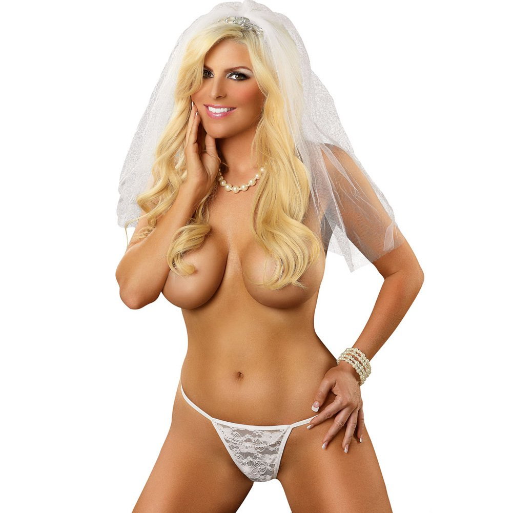 Magic Silk Omgstrings Bride G-String Queen Size White - View #1