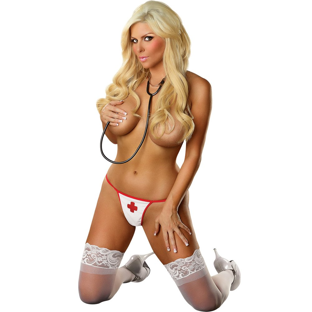 Critical Care G-String Panty Queen Size White - View #3