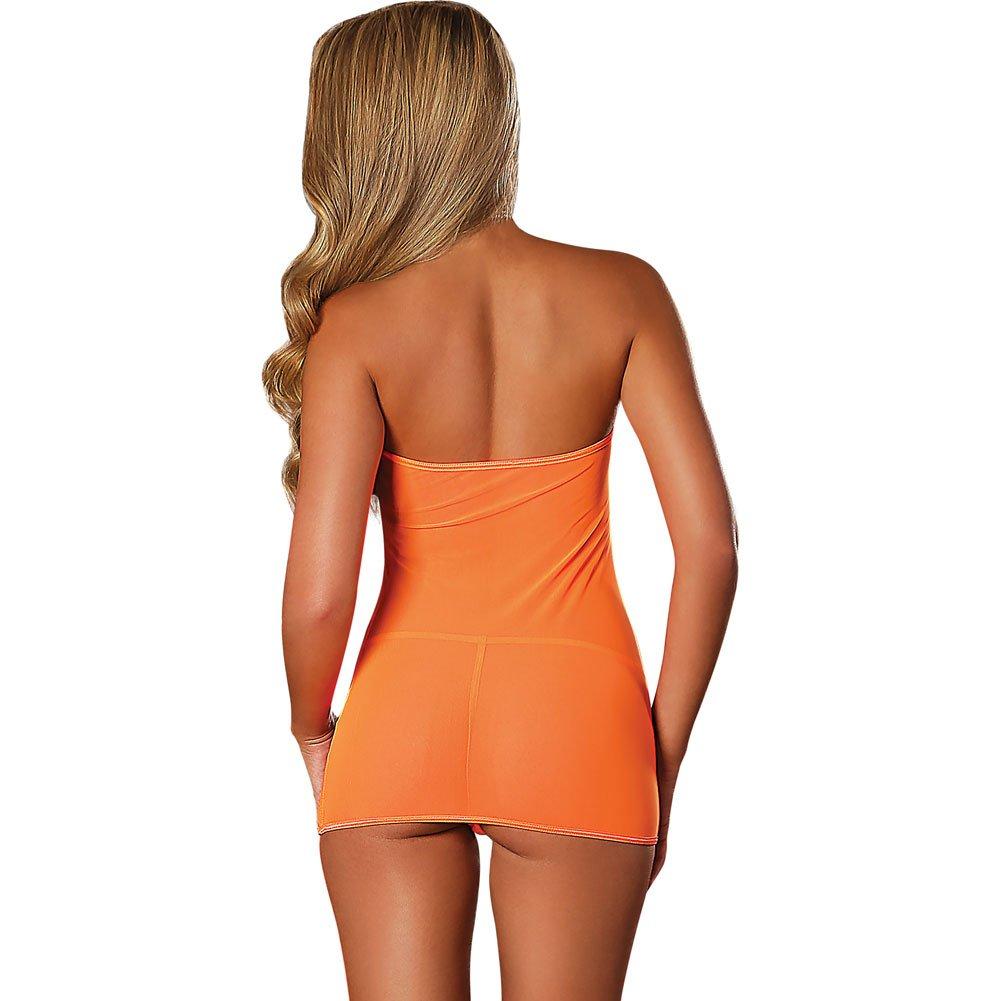 Club Seamless Neon Tube Dress and G-String One Size Black Light Neon Orange - View #2