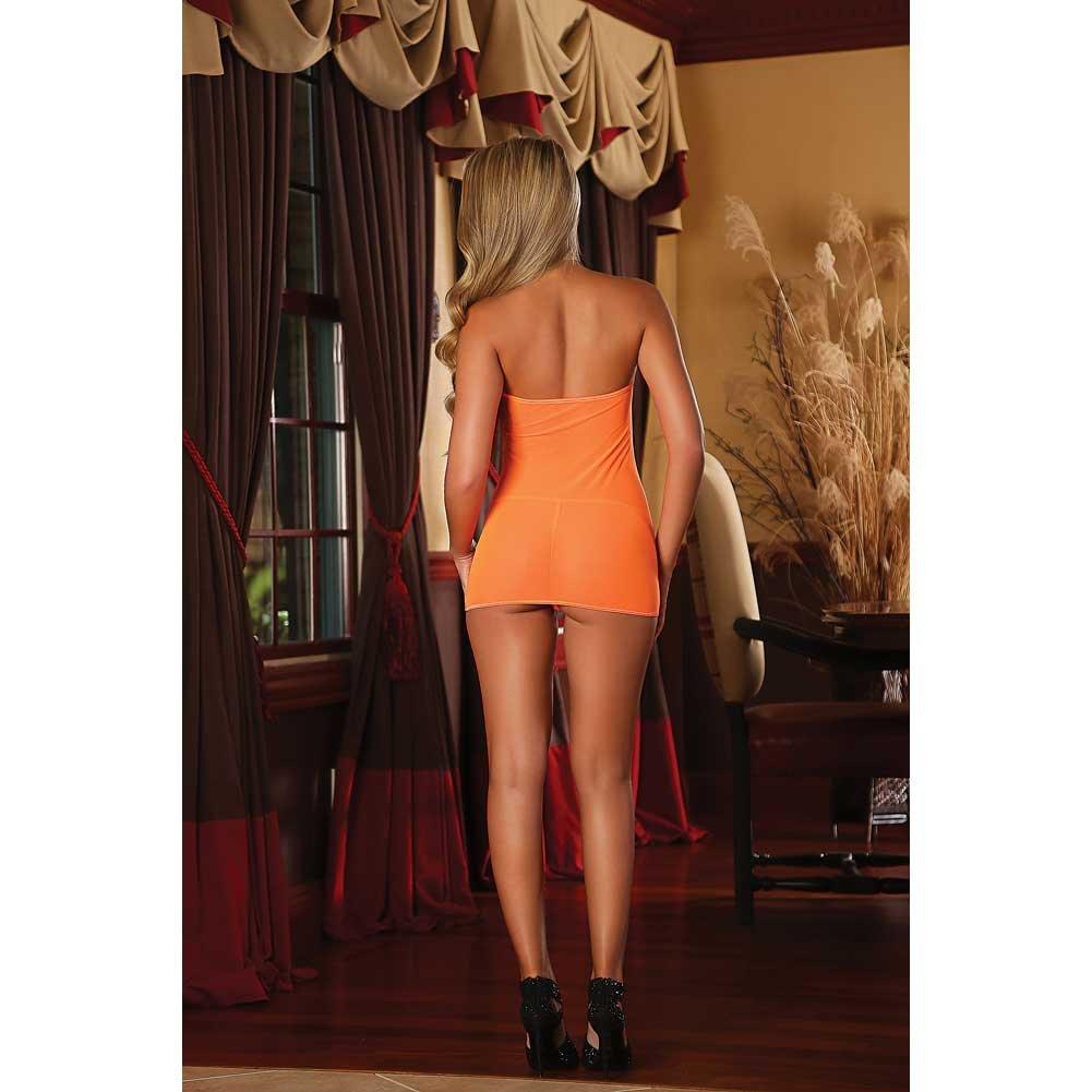 Club Seamless Neon Tube Dress and G-String One Size Black Light Neon Orange - View #4