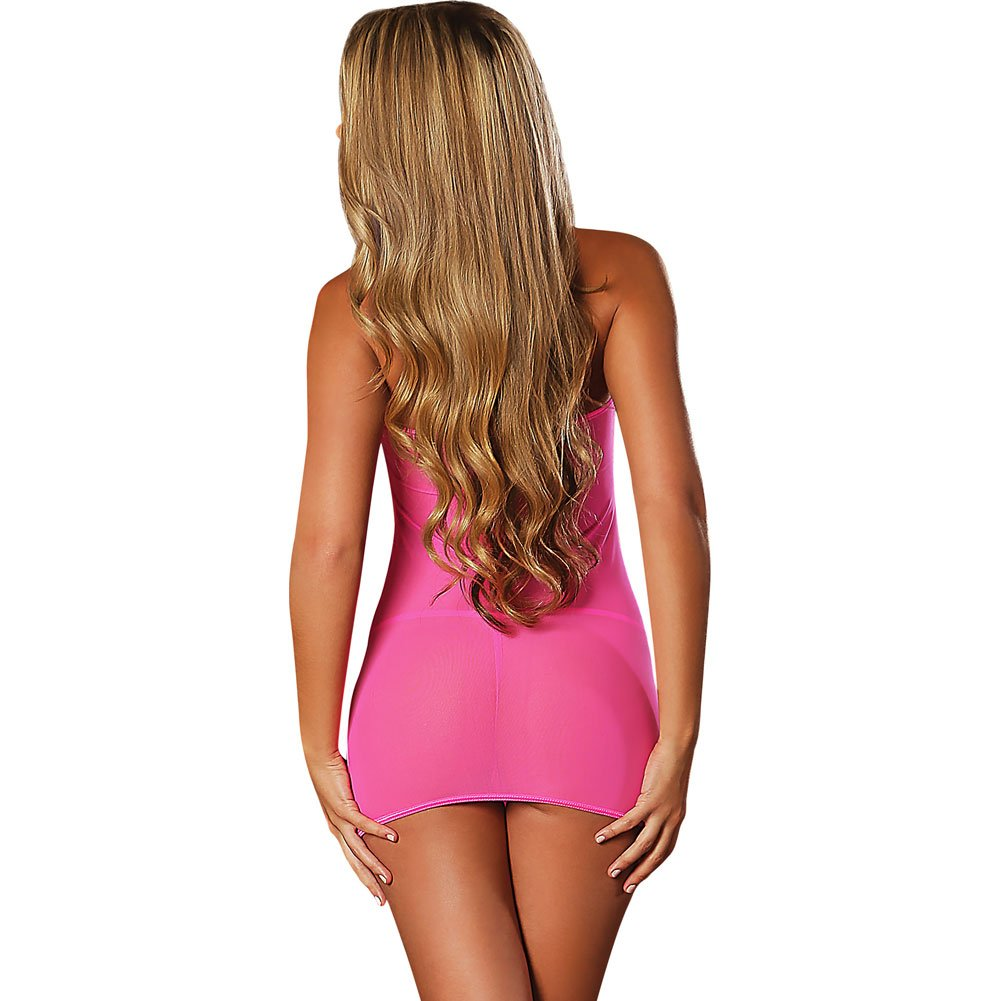 Club Seamless Neon Tube Dress and G-String One Size Black Light Neon Pink - View #2