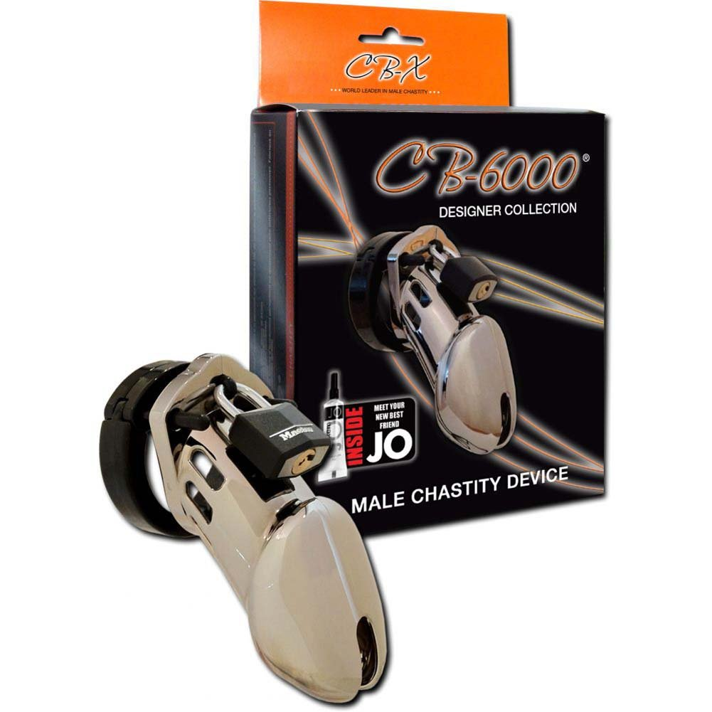 "CB-6000 Premium Male Chastity Device Cock Cage and Lock Set 3.75"" Chrome - View #1"