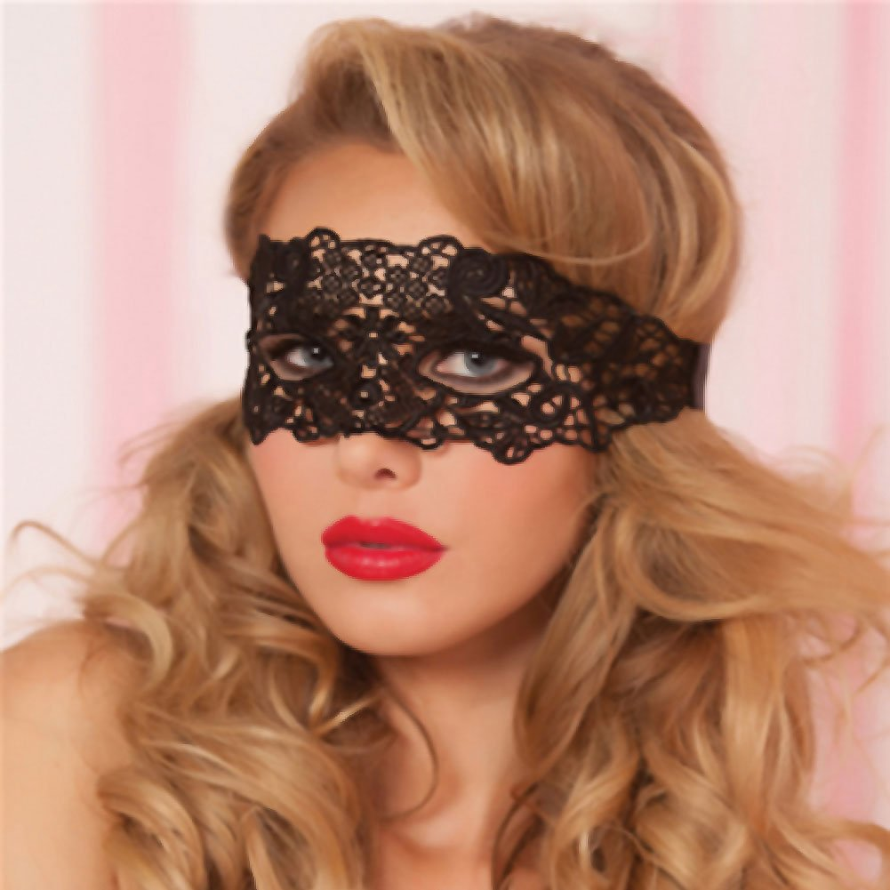 Lace Eye Mask with Satin Ribbon Ties Black One Size - View #1