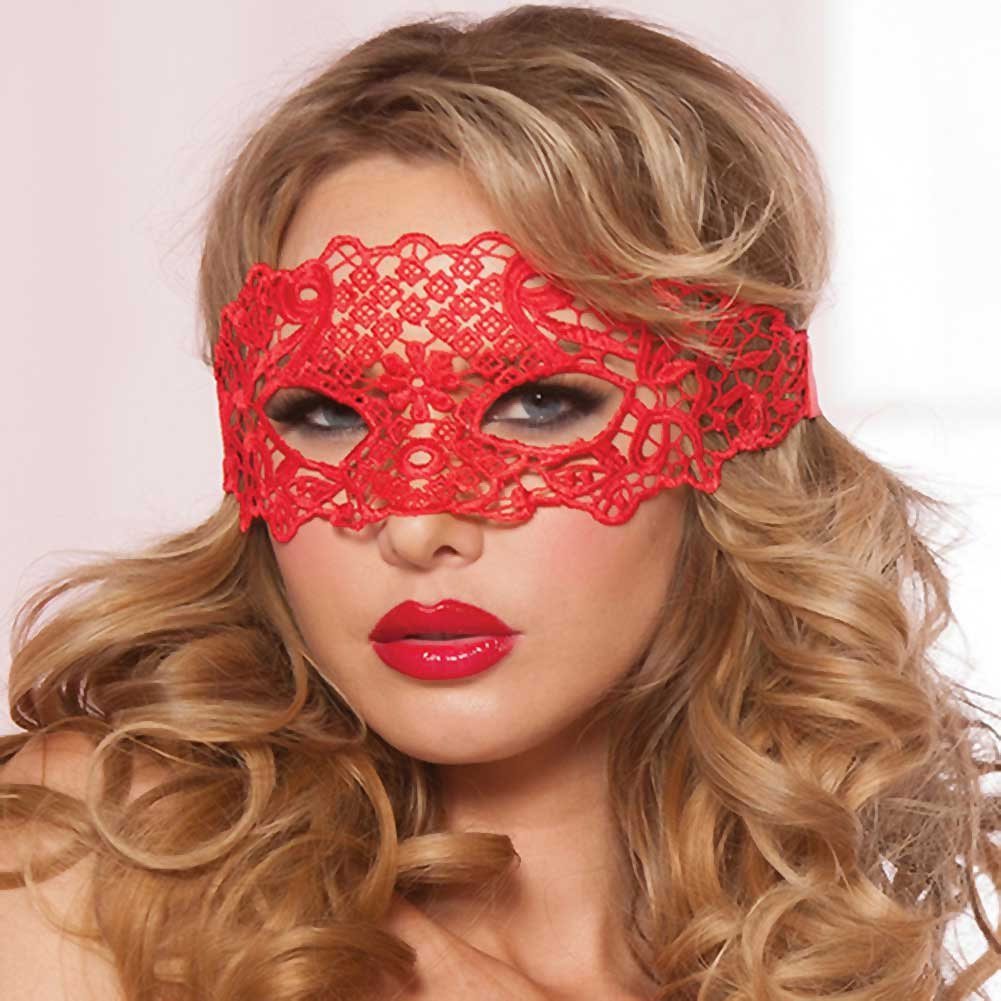 Lace Eye Mask with Satin Ribbon Ties Red One Size - View #1