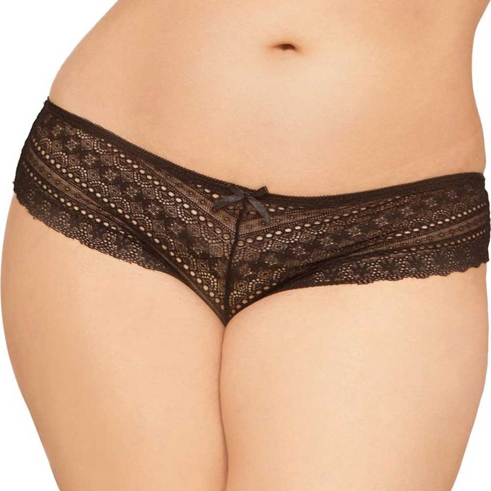 Geo Galloon Lace Panty with Lace Up Back Detail Black 3X 4X - View #2