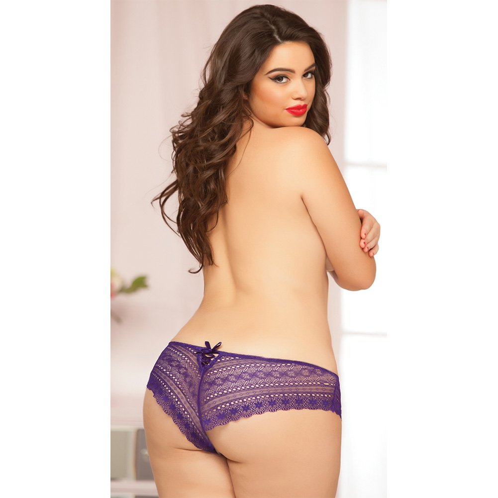 Geo Galloon Lace Panty with Lace Up Back Detail Purple 3X 4X - View #3