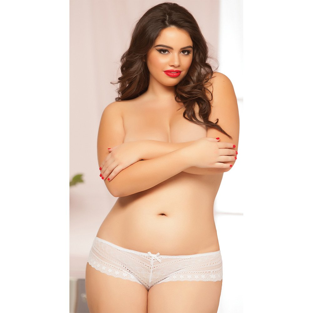 Geo Galloon Lace Panty with Lace Up Back Detail White 1X 2X - View #4