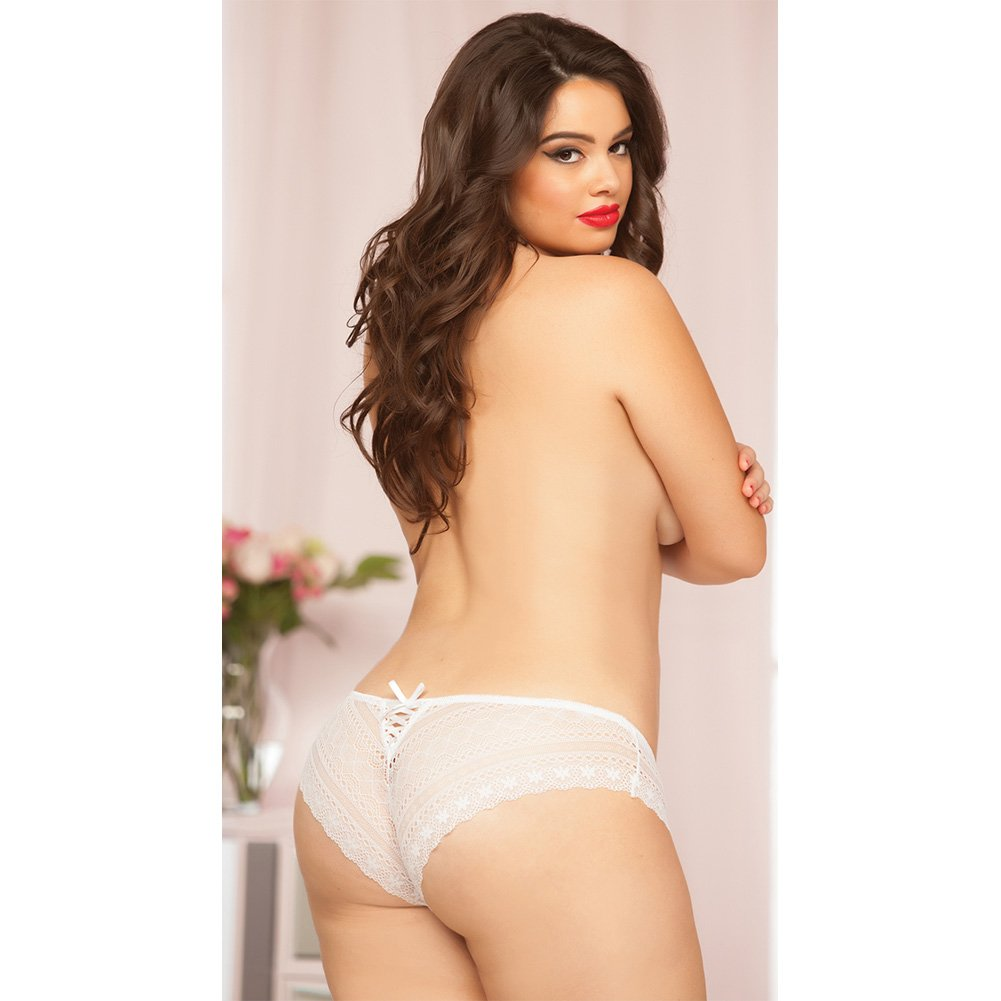 Geo Galloon Lace Panty with Lace Up Back Detail White 3X 4X - View #3