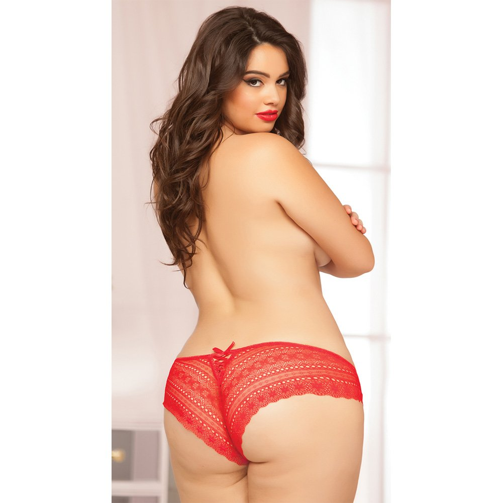Geo Galloon Lace Panty with Lace Up Back Detail Red 1X 2X - View #3