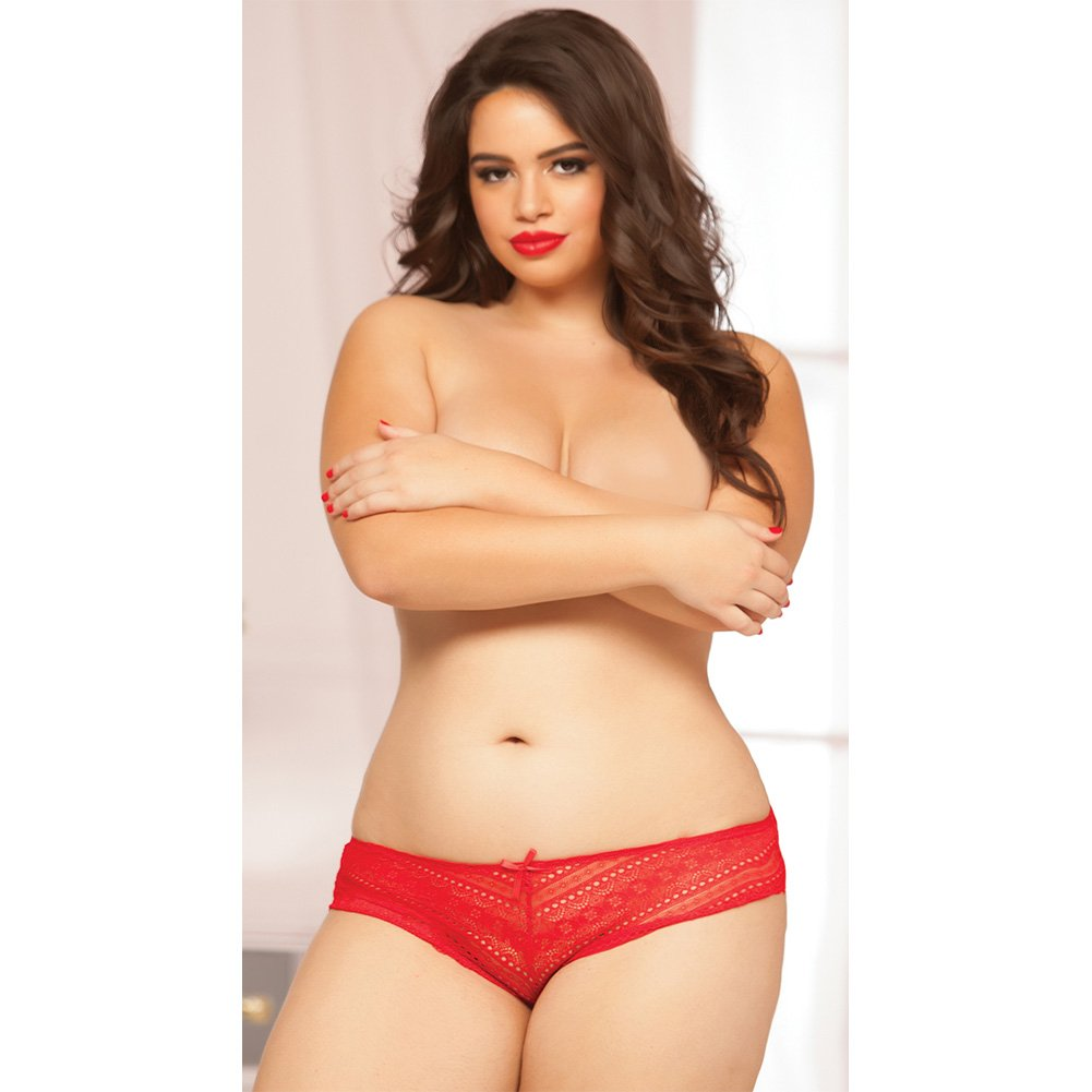 Geo Galloon Lace Panty with Lace Up Back Detail Red 3X 4X - View #4