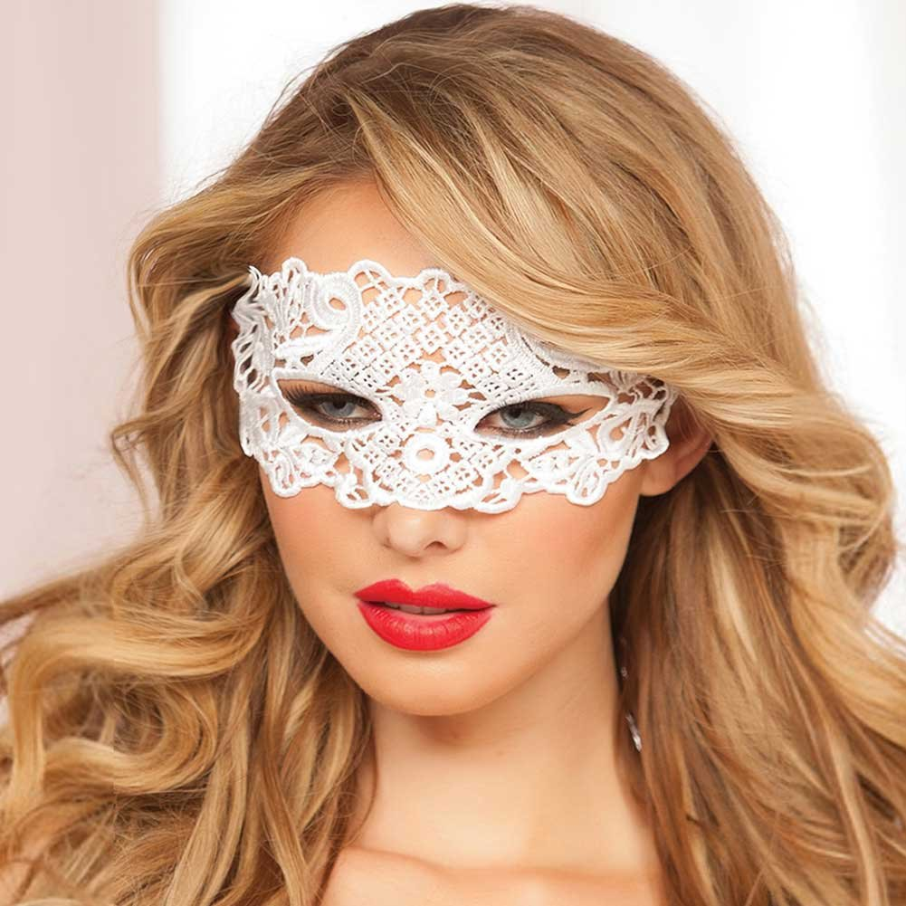 Lace Eye Mask with Satin Ribbon Ties White One Size - View #1