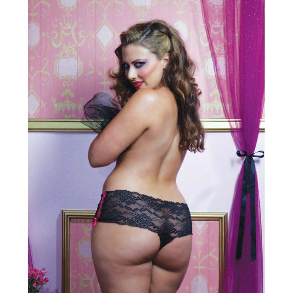 Lace Open Crotch Thong with Side Ribbon Lace Up Plus Size 3X/4X Black - View #4