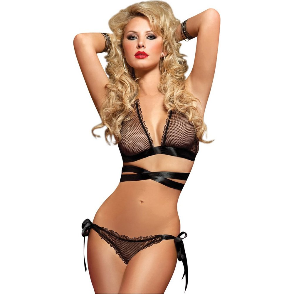 Fishnet Cross Front and Back Bra and Side Tie Panty Black One Size - View #1