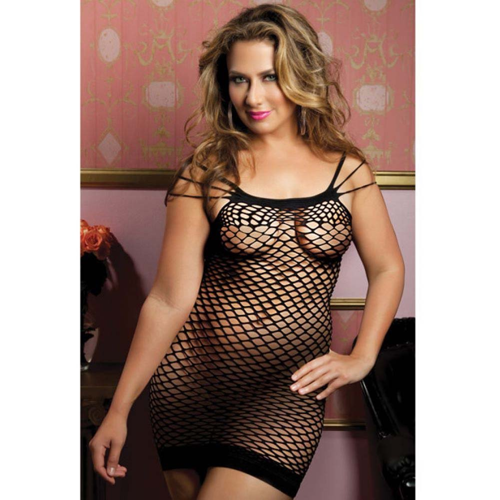 Seamless Dress with Multi Way Shoulder Straps and Fence Net Body Black Queen - View #1