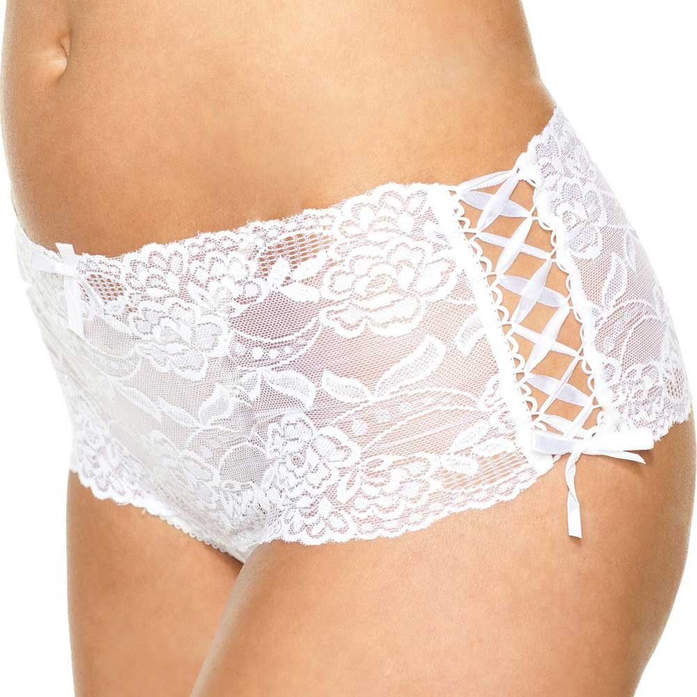 Lace Open Crotch Thong with Side Ribbon Lace Up Small White - View #1
