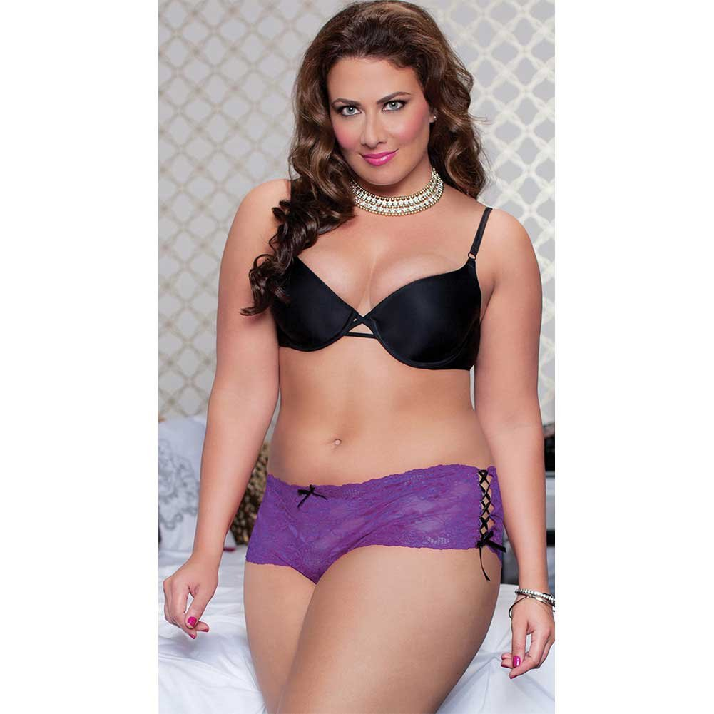 Lace Open Crotch Thong with Side Ribbon Lace Up Plus Size 1X/2X Purple - View #3