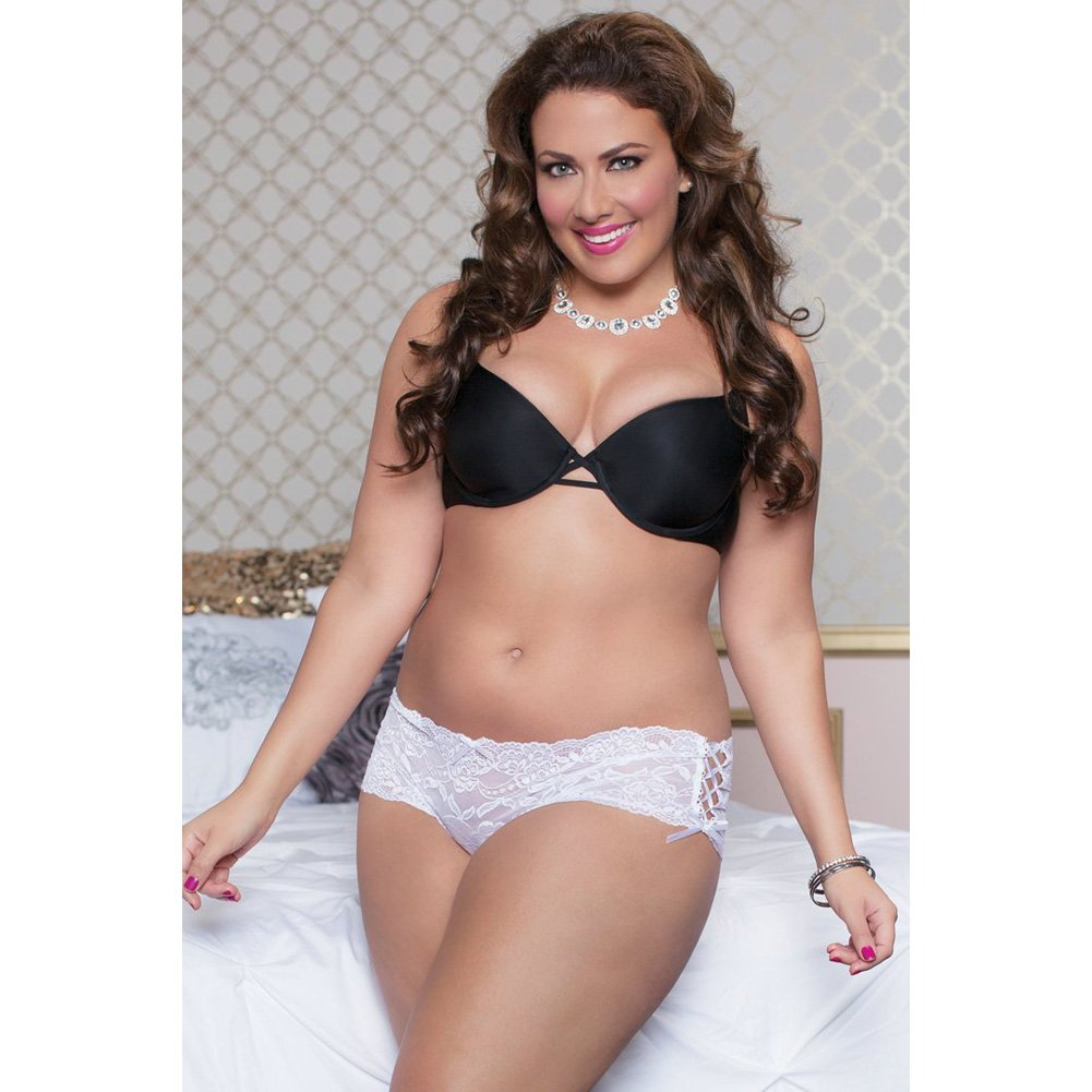 Lace Open Crotch Thong with Side Ribbon Lace Up Plus Size 1X/2X White - View #3