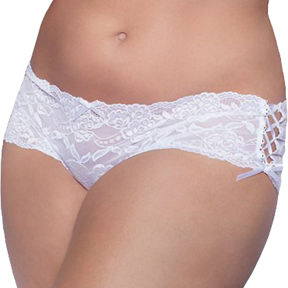 Lace Open Crotch Thong with Side Ribbon Lace Up Plus Size 3X/4X White - View #1