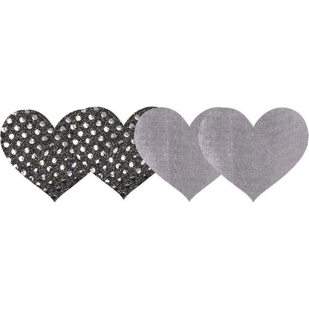 Peekaboos Premium Heart Shaped Nipple Pasties 2 Pair Pack Silver/Glittery Polkadot Print - View #1